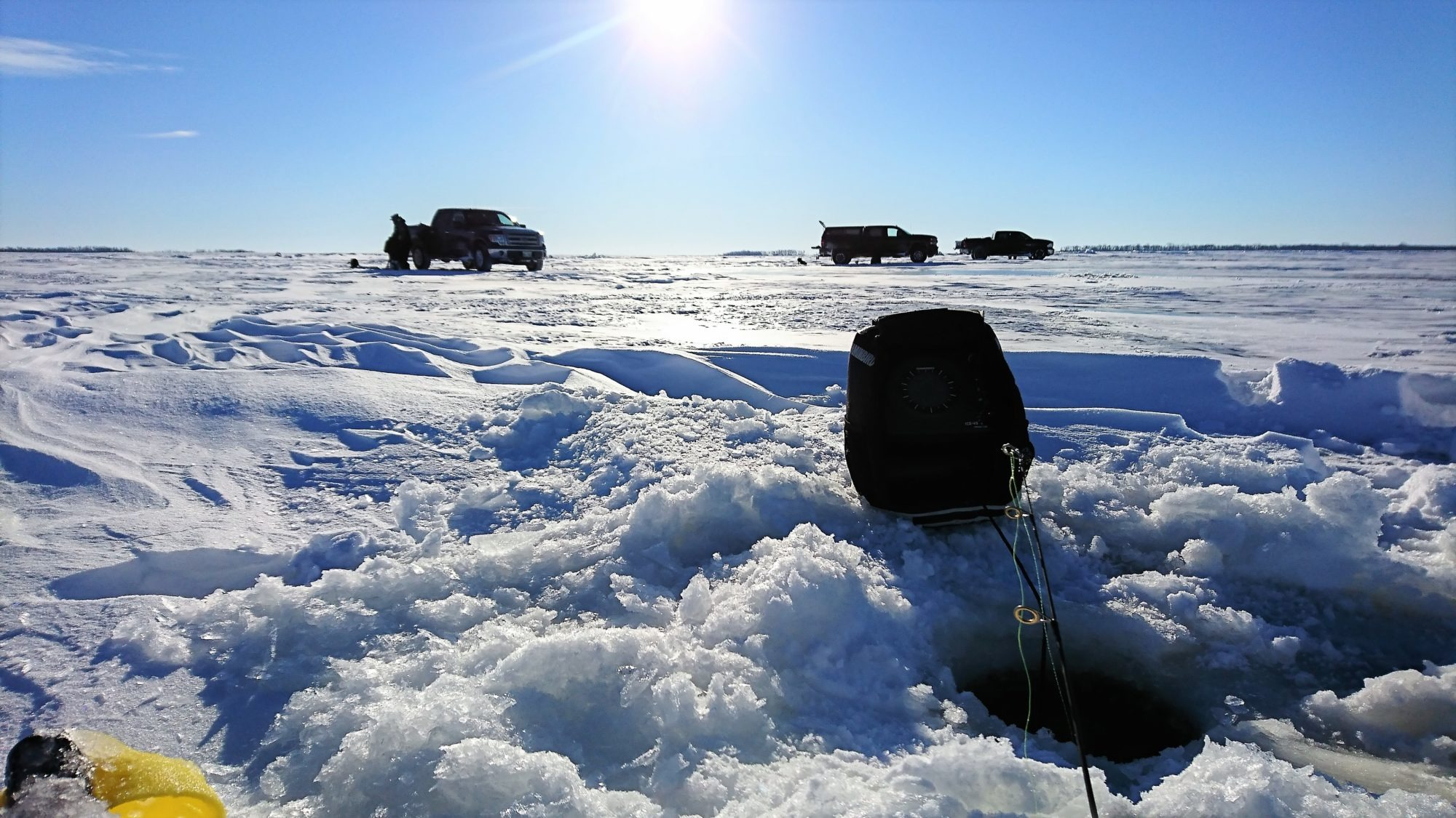 Ice fishing in Manitoba