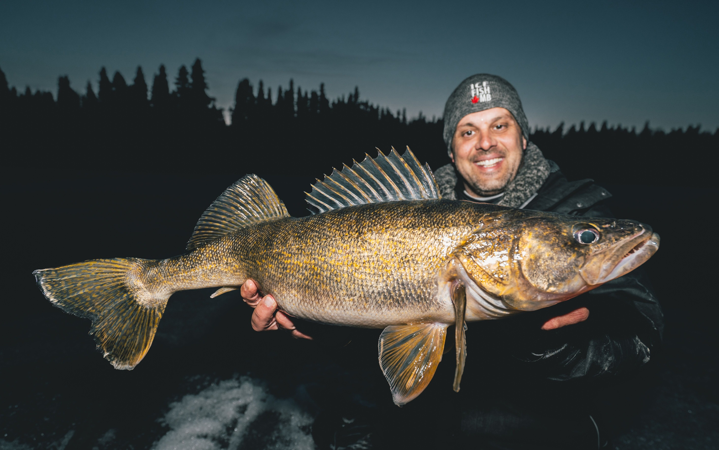 night fishing at wekusko falls lodge